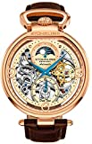 Stührling Original Mens Rose Gold Tone Skeleton Watch - Silver Dial with Gold and Blue Accents - Brown Leather Band with Deployant Clasp - AM/PM Sun Moon Indicator, Dual Time, mens watches 889 collect