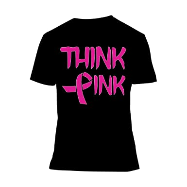 Amazon.com: Fresh Tees Think Pink With Ribbon Cancer Awareness T ...