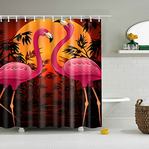 (BROSHAN Seaside Flamingo Shower Curtains, Tropical Hawaii Flamingo Birds on Sunset Coastal Nature Scenery, Summer Waterproof Bathroom Fabric Shower Curtain Stall Bathtub,72)