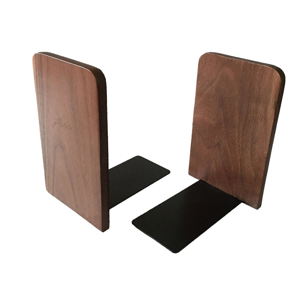 1Pair Simple Style Black Walnut Wood Bookends Bookend for Library School Study Home Office Gift (Square)