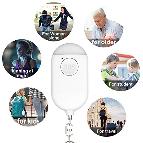 BSH Personal Alarm 130DB Siren Song Safesound Personal Alarms for Women Keychain with LED Light, USB Rechargeable, Self Defense Weapons for Women, Kids, Elderly, 2 Pack(White&Pink)