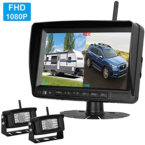 (2019 Vision FHD 1080P Digital Wireless Dual Backup Cameras 7''DVR Monitor Kit for RVs,Trucks,5th Wheels Support Split/Quard View Screen High-Speed Observation System IP69K Waterproof Driving/Reverse)