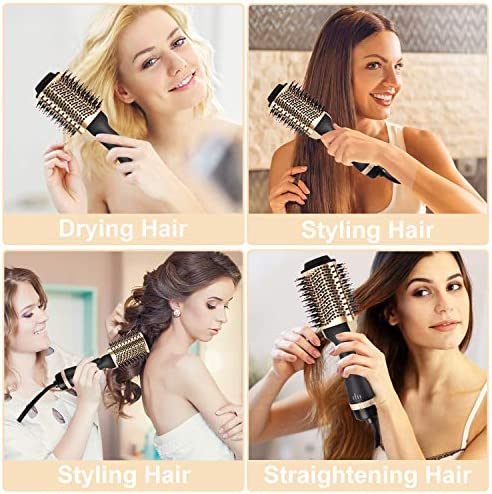 Necmuaih Hair Dryer Brush, Hair Dryer & Volumizer 4-in-1 Negative Ionic Hot Air Brush, Salon Electric Reduce Frizz Blow Dryer Brush