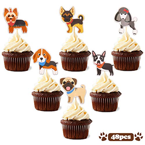 Puppy Cupcake Toppers Dog Adoption Pet Birthday Party Cake Decoration Supplies 48pcs -