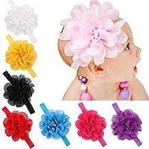 Baby Girl's Headbands Chiffon Hair Bow Elastic Hair Accessories Flower(8 pack)