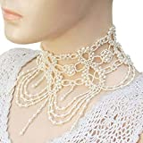 La Vivia Cream Pearl Seed Beaded Grand Victorian Choker Necklace Jewelry Exclusive S-41-SB-1