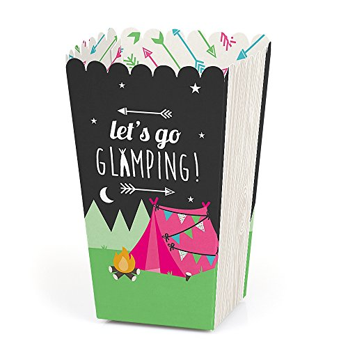 Let's Go Glamping - Camp Glamp Party or Birthday Party Favor Popcorn Treat Boxes - Set of 12]()