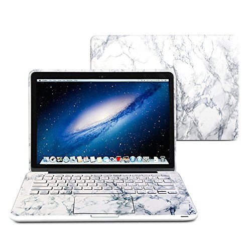 GMYLE(R) 2 in 1 - White Marble Pattern Frosted Matte Hard Case for Macbook Pro 13.3