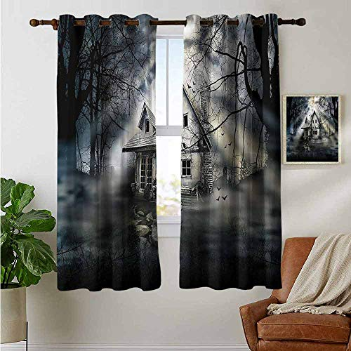 petpany Light Blocking Curtains Halloween,Haunted House Dark Horror,for Bedroom, Kitchen, Living Room 52