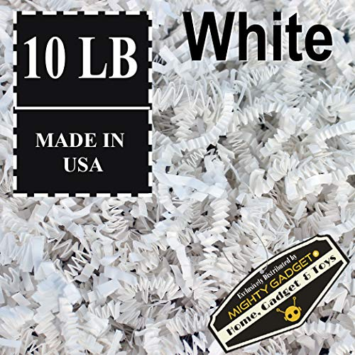 Mighty Gadget Brand 10 LB Value Pack Crinkle Cut Paper Shred Filler for Packing and Filling Gift Baskets, Gift Boxes Natural Craft Bedding in White (10 -