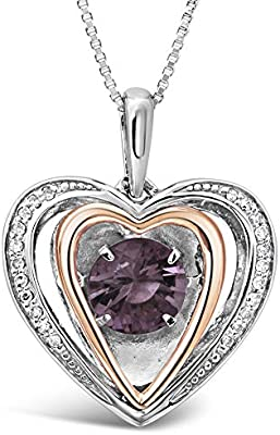 6c8d631dfb633 Amethyst Heart Necklace with Diamond Accent in Sterling Silver and ...