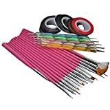15pcs Nail Art Brush + 32Pcs Nail Striping Tape + 5Pcs 2way Dotting Pen Marbleizing Tool Nail Painting Kit Set (1)