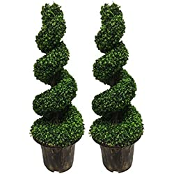 AMERIQUE Pair Gorgeous Wide and Dense Boxwood 4 Spiral Topiary Artifical Trees Silk Plants, UV Protection, with Decorative Pots, 4', Emerald Green