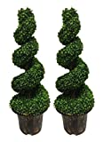 AMERIQUE Pair Gorgeous 6 Feet Wide and Dense Boxwood Spiral Topiary Artificial Tree Silk Plant with UV Protection Indoor and Outdoor, with Decorative Pot, Feel Real Technology, Super Quality, Green