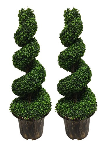 AMERIQUE Pair Gorgeous 6 Feet Wide and Dense Boxwood Spiral Topiary Artificial Tree Silk Plant with UV Protection Indoor and Outdoor, with Decorative Pot, Feel Real Technology, Super Quality, Green ()