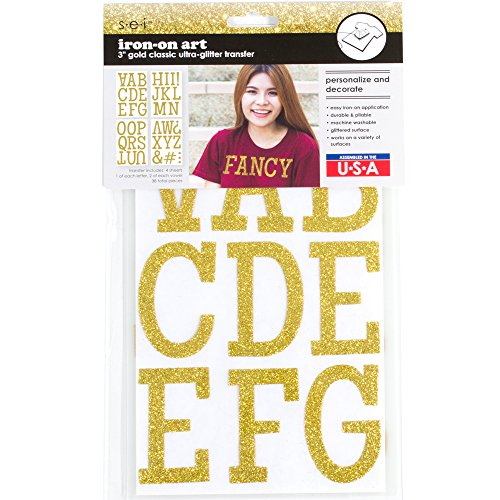 Sei 3 inch Classic Glitter Letter Iron on Transfer, Gold, 4-Sheet