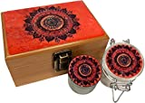 Mandala Wooden Stash Box Combo - Small 4 Part Grinder 2.0'' w/ Glass stash jar air tight seal (Pink Mandala)