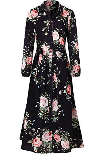 Bon Rosy Women's Long Sleeve Rose Shirt Collar Long Maxi Party Dress Black Rose L((ALD-7011) - Shirt Neck Ballet