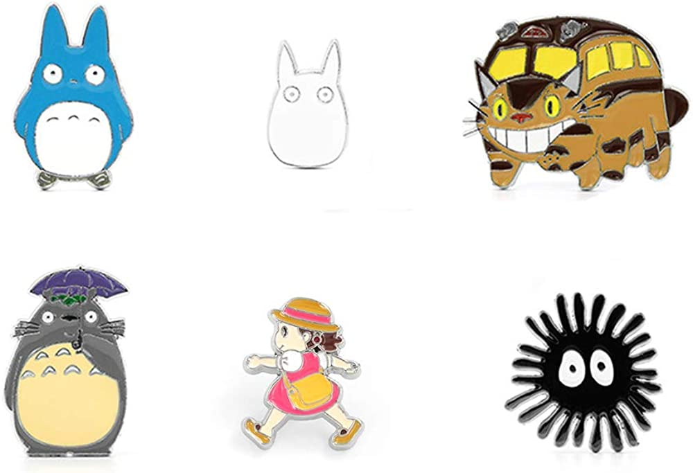 My Neighbor Totoro Cute Badges Pins Brooches Accessories for Clothes Backpack 6Pcs: Clothing