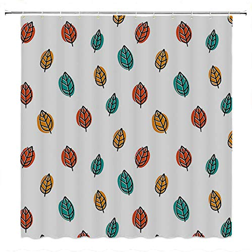 SATVSHOP Strongest-Mildew-Resistant-Shower-Curtain-with-12-Hooks-PVC-Free-Odorless-Nature-Falling-Autumn-Leav-Cute-Doodle-Style-Seasonal-Sketchy-Illustration-Teal-Marigold-Vermilion.W54-x-L72-inch