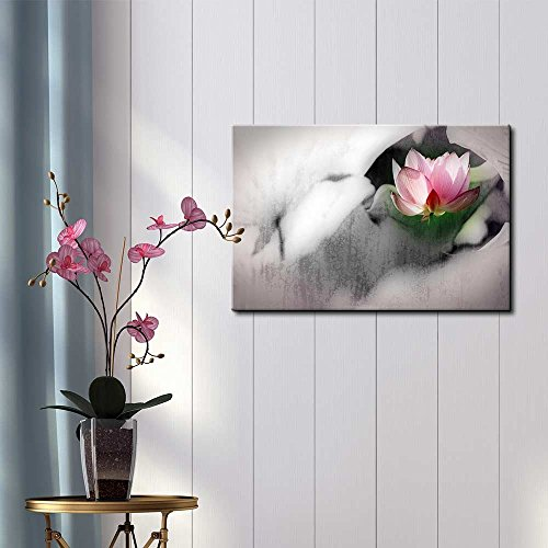 Pink Lotus Flower on a Foggy Black and White Setting