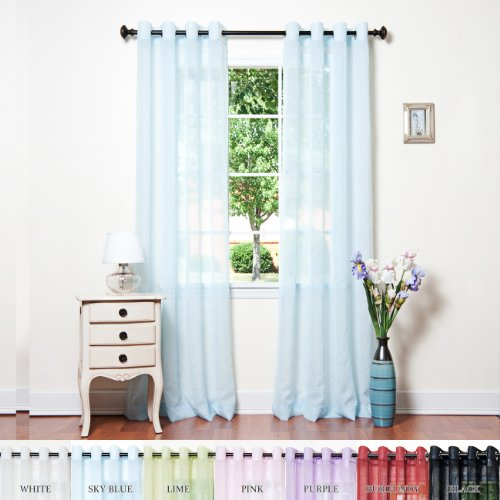 Best Home Fashion Crushed Voile Sheer Curtains - Antique Bronze Grommet Top - Sky Blue - 52