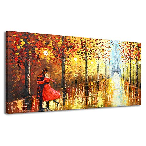 BYXART Modern Romantic Canvas Wall Art Couple in Street Eiffel Tower Oil Painting Landscape Pictures Printed on Canvas Framed Artwork Prints Paris Decor Decals for Bedroom Living Room (20x40in, Gold)