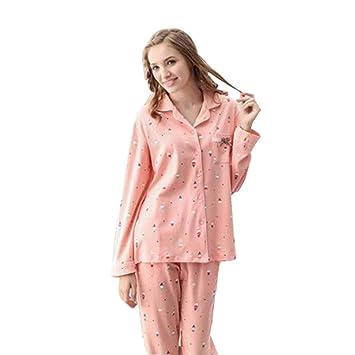 ac1a043ba Pijamas Traje de Servicio a Domicilio de Primavera y otoño para Mujer  Cárdigan de algodón de
