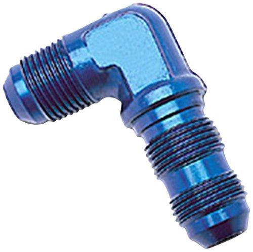 Edelbrock/Russell 661250 Blue Anodized Aluminum -6AN 90-Degree Flare BulkHead Adapter Fitting