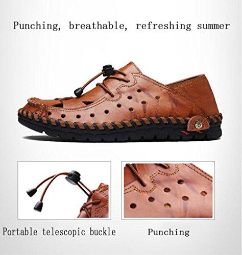 Casual Pelle Antiscivolo Moda Casual Scarpe Resistente Brown in Singole in Sandali all'Usura Sandali Cava Scarpe da Traspiranti Pelle Uomo Antiscivolo axwXA7CCq