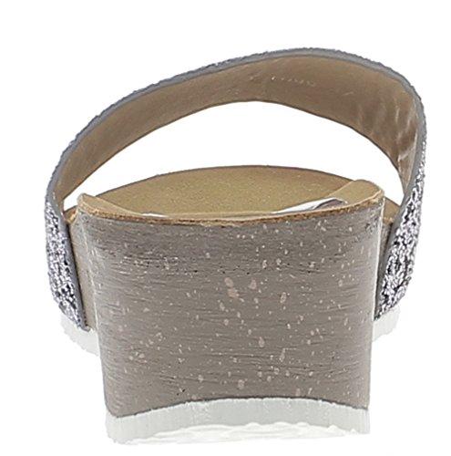 Mules compensées argentées à talon de 5cm et plateau de 2cm paillettes