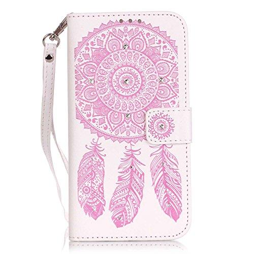 JIALUN-Personality teléfono shell Funda Samsung Galaxy J3 J310, cubierta de la caja del soporte del tirón del cuero de la PU con la muñeca de la mano y ranuras para tarjeta de efectivo / soporte para  Pink