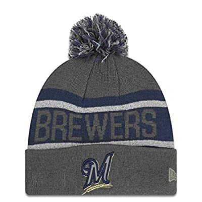New Era Milwaukee Brewers MLB Biggest Fan Redux Cold Weather Sport Knit Cuffed Pom Knit Beanie One Size Fits Most Cap Hat (One Size)
