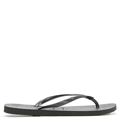 aa7ae2353 Havaianas Black Slim Logo Women s Flip Flop  Amazon.co.uk  Shoes   Bags