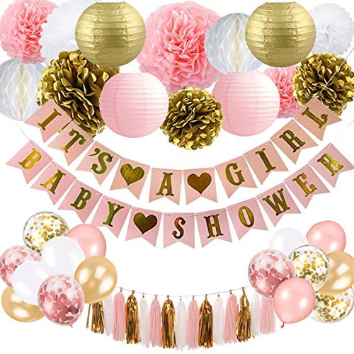 Girl Baby Shower Banner (Baby Shower Decorations for Girl - Pink and Gold Baby Shower Decoration It's A girl & Baby Shower Banner with Paper Lantern Pompoms Flowers Honeycomb Ball Balloons Foil)