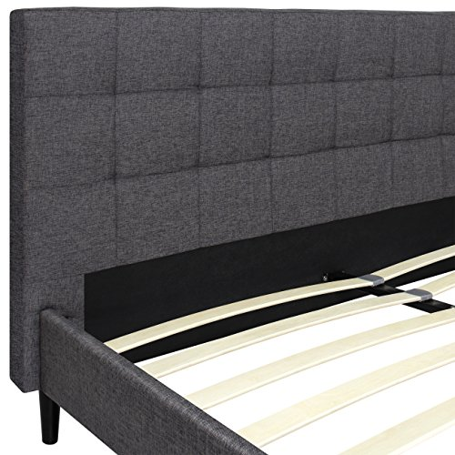 Best Choice Products King Upholstered Platform Bed With Stitched Headboard, Wooden Slats- Gray