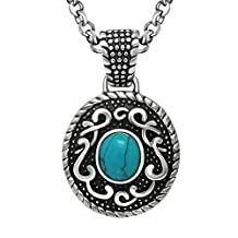 XIMAKA Men's Jewelry 316l Stainless Steel Natural Turquoise Necklace Pendant
