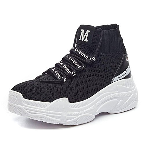 Lovers Knit Sneakers 2018 Summer/Fall Mesh Sock Shoes Men's/Women's Heighten Sports Casual Shoes/Running Shoes Outdoor Cycling Shoes (Color : Black, Size : 37) by CAI
