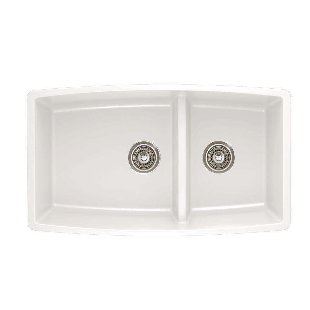 Blanco 441310 Granite Undermount Kitchen Sink Performa 19-In X 33-In Double-Basin 33.00 x 26.00 x 39.00 inches White