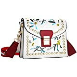 Bagerly Women's 2017 Embroidery Style Shoulder Bag Crossbody Bag (White)