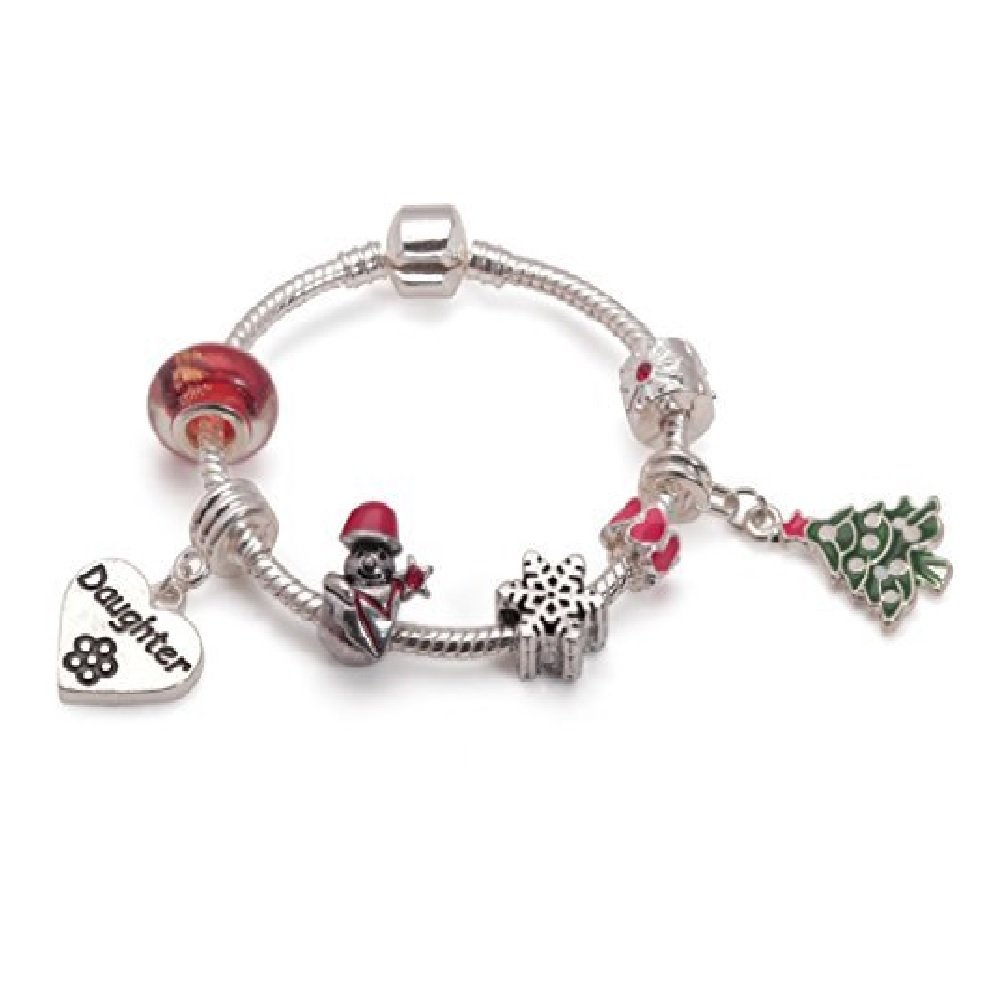 Liberty Charms Childrens Daughter Christmas Dream Silver Plated Charm Bracelet