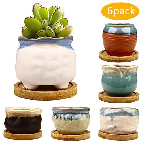 Glaze Planter - 2.95 inch Succulent Pots,Mini Flower Pots with Drinage,Succulent Planters with Hole,Small Planter Pots,Ceramic Pots for Garden,Cactu,Colourful Glaze Base Serial