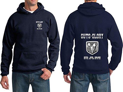 Lucky Ride Guts and Glory RAM, RAM Dodge Trucks Hoodie Sweatshirt (Front & Back), Navy, S