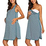 Ekouaer Women's Maternity Dress Nursing Nightgown for Breastfeeding Blue Large
