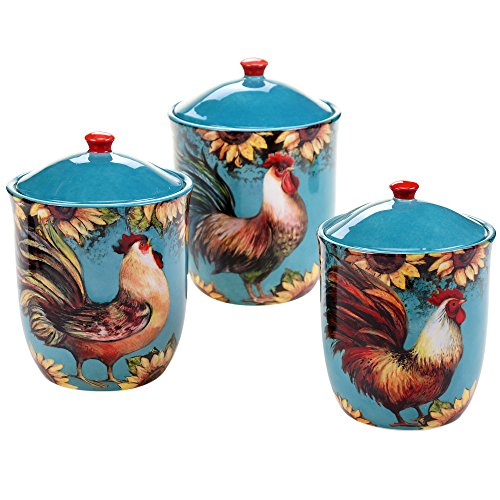 Certified International 17714 3 Piece Sunflower Rooster Canister Set, Multicolor