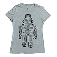 Womens TShirt - Regular Fit Tee - Hand Printed Robot - Grey Casual Short Sleeve Top S M L XL 2XL