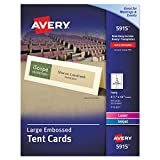 Avery(R) Embossed Tent Cards, 3 1/2in. x 11in, Ivory, Pack Of 50