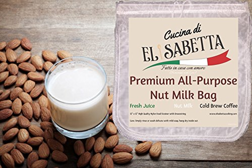 2-Pack Premium All-Purpose Large Nut Milk Bag by Cucina di Elisabetta, Nylon Food Strainer for Nut Milk, Fresh Juice and Cold Brew Coffee 12