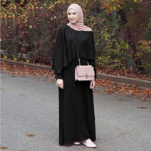 Túnica Musulmán Vjgoal Casual Moda Mujer Verano Dubai Negro Jilbab Kaftan Manga Árabe Islámica Color Sólido Larga Vestido Manto Abaya Vintage Largo x6w67rnq