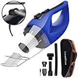 Wireless Car Vacuum Cleaner DC 12V 120W Wet Dry Auto Dustbuster Portable Handheld Auto Vacuum Cleaner for Car 4000Pa Suction Car Hoover with HEAP Filter&5Meters LED Light Car & Home Cleaner (Blue)